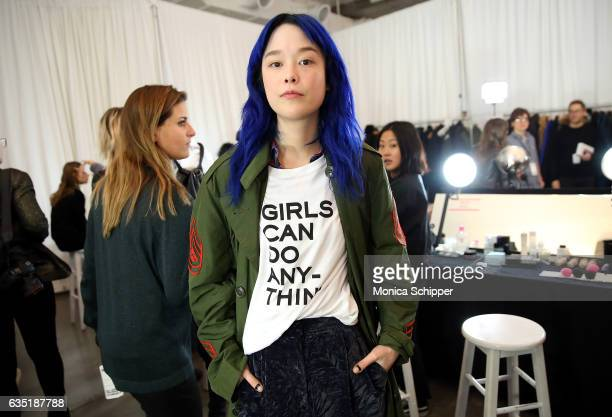 Model Mae Lapres prepares backstage at the Zadig Voltaire fashion show during New York Fashion Week at Skylight Modern on February 13 2017 in New...