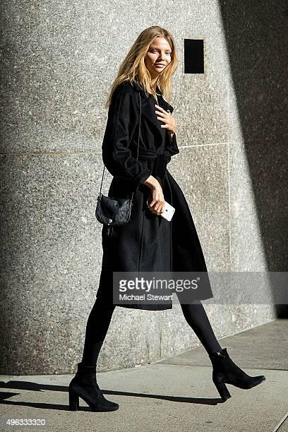 Model Magdalena Frackowiak is seen in Midtown on November 8 2015 in New York City