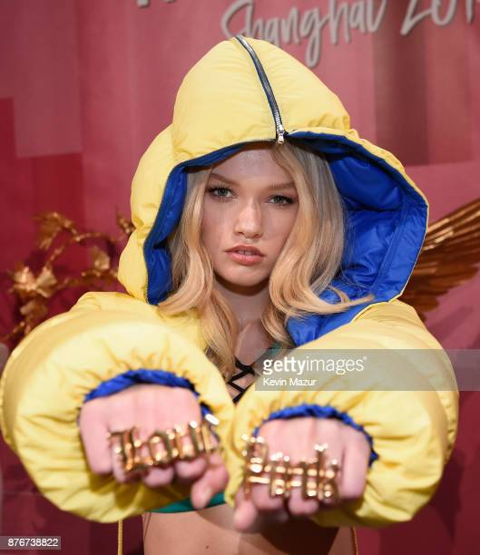 Model Maggie Laine poses backstage during 2017 Victoria's Secret Fashion Show In Shanghai at MercedesBenz Arena on November 20 2017 in Shanghai China