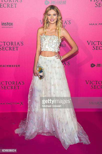 Model Maggie Lane attends the 2016 Victoria's Secret Fashion Show after party at Le Grand Palais on November 30 2016 in Paris France