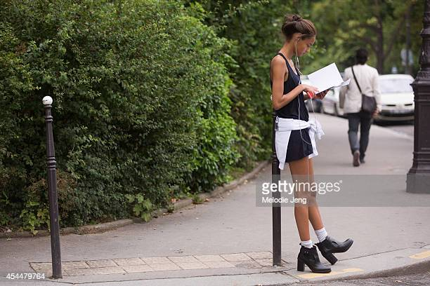 Model Malaika Firth after Chanel on Day 3 of Paris Haute Couture Fashion Week Autumn/Winter 2014 on July 8 2014 in Paris France