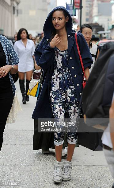 Model Malaika Firth is seen outside the Diesel show wearing all Top Shop on September 9 2014 in New York City