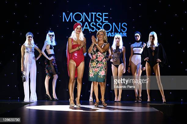 Model Malena Costa and designer Montse Bassons walk the runway in the Montse Bassons fashion show during the Cibeles Madrid Fashion Week...
