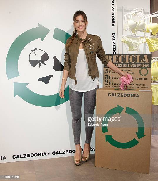 Model Malena Costa attends Calzedonia recycled campaign photocall at Calzedonia store on May 4 2012 in Madrid Spain
