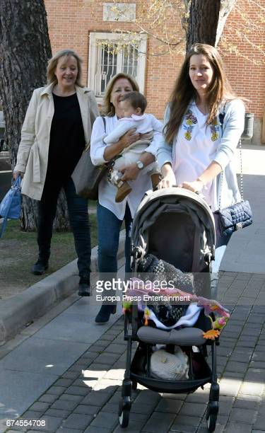 Part of this image has been pixellated to obscure the identity of the child Model Malena Costa is seen with her daughter Matilda Suarez her mother...