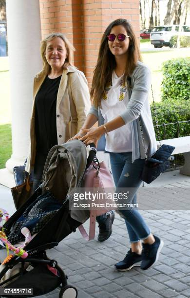 Model Malena Costa is seen with her daughter Matilda Suarez her mother and her motherinlaw on March 29 2017 in Madrid Spain