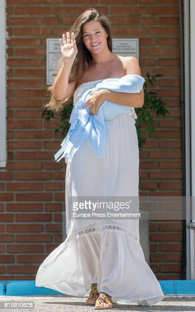 Model Malena Costa presents her newborn son Mario Suarez at Ruber Internacional on July 15 2017 in Madrid Spain