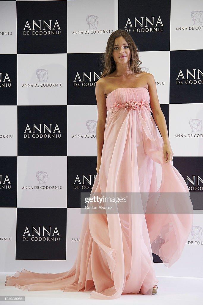Model Malena Costa presents new Victorio Lucchino dress for Anna Codorniu at Torre de Cristal Hotel on September 14 2011 in Madrid Spain