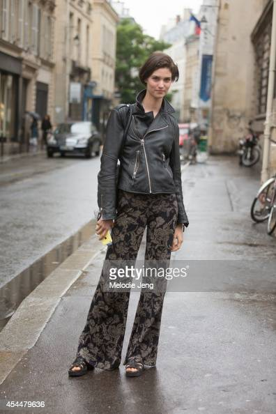 Model Manon Leloup poses after Vionnet on Day 4 of Paris Haute Couture Fashion Week Autumn/Winter 2014 on July 9 2014 in Paris France