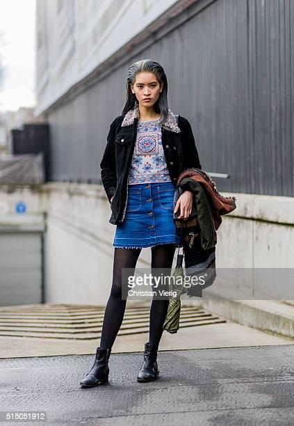 Model Marga Esquivel wearing a denim skirt outside Miu Miu during the Paris Fashion Week Womenswear Fall/Winter 2016/2017 on March 9 2016 in Paris...