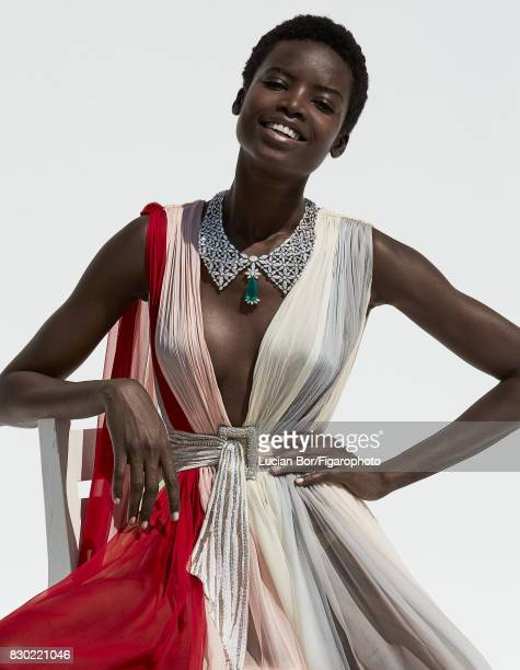 Model Maria Borges poses at a fashion shoot for Madame Figaro on July 8 2017 in Paris France Dress and belt necklace from the Silk Road Collection...