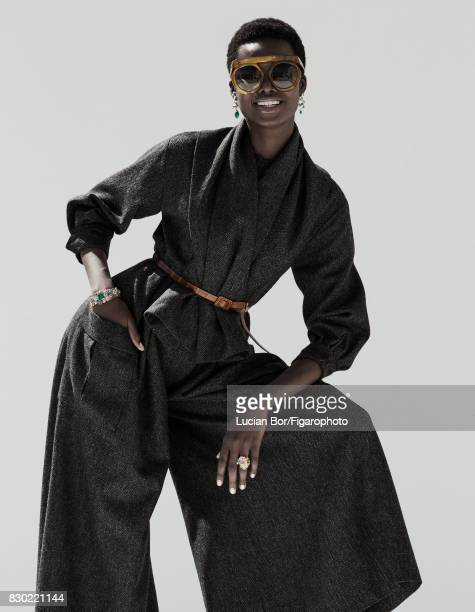 Model Maria Borges poses at a fashion shoot for Madame Figaro on July 8 2017 in Paris France Suit inspired by the Siam suit form the 1950...