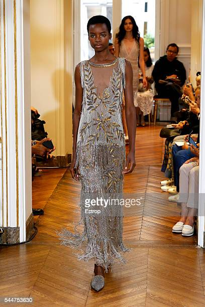 Model Maria Borges walks the runway during the Alberta Ferretti Fall/Winter 20162017 show as part of Paris Fashion Week on July 3 2016 in Paris France