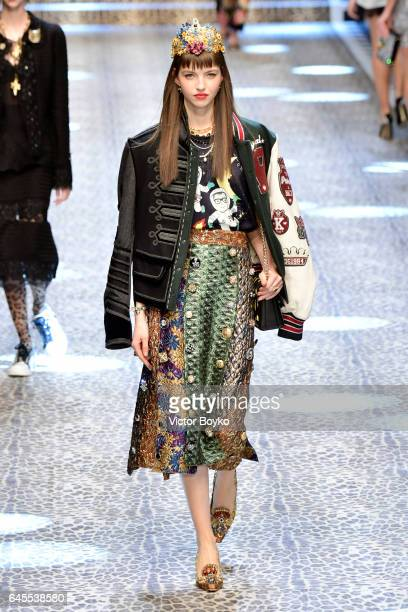 Model Maria Clara walks the runway at the Dolce Gabbana show during Milan Fashion Week Fall/Winter 2017/18 on February 26 2017 in Milan Italy