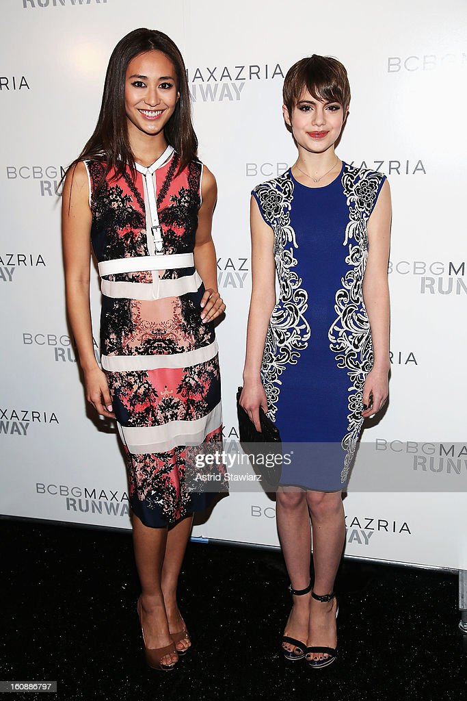 Model Maria Kamiyama and Actress <a gi-track='captionPersonalityLinkClicked' href=/galleries/search?phrase=Sami+Gayle&family=editorial&specificpeople=5053940 ng-click='$event.stopPropagation()'>Sami Gayle</a> pose backstage at the BCBGMAXAZRIA Fall 2013 fashion show during Mercedes-Benz Fashion Week at The Theatre at Lincoln Center on February 7, 2013 in New York City. (Photo by Astrid Stawiarz/Getty Images for Mercedes-Benz Fashion Week).