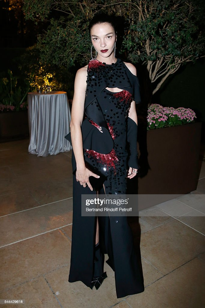 Model Mariacarla Boscono attends the Amfar Paris Dinner Stars gather for Amfar during the Haute Couture Week Held at The Peninsula Hotel on July 3...