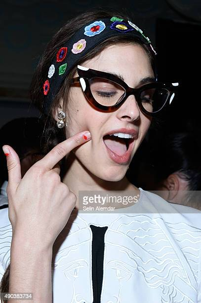 Model Mariah Strongin is seen backstage ahead of the Vivetta show during Milan Fashion Week Spring/Summer 2016 on September 28 2015 in Milan Italy