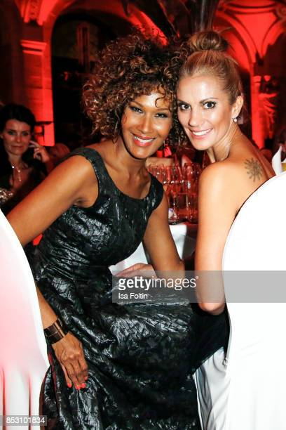 Model Marie Amiere and German presenter Kerstin Linnartz during the Minx Fashion Night in favour of 'Sauti Kuu' of Auma Obama at Wuerzburger Residenz...