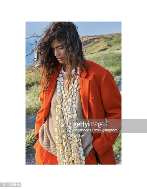 Model poses at a fashion shoot for Madame Figaro on June 20 2017 in Etretat France Suit and sweater scarf CREDIT MUST READ Christophe...