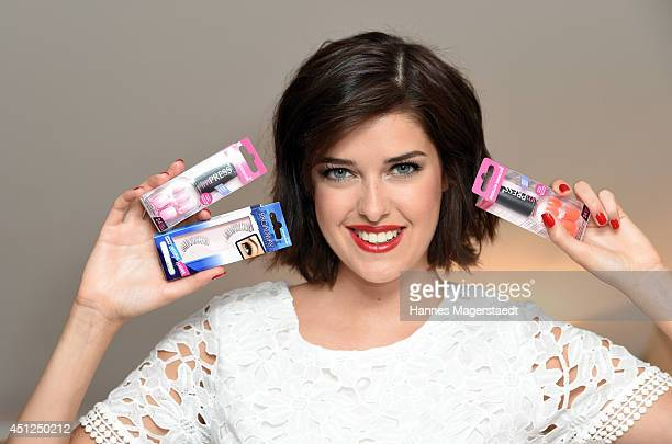 Model Marie Nasemann poses during a photo session as new testimonial for imPress Manicure by Broadway Nails at Cortiina Hotel on June 26 2014 in...