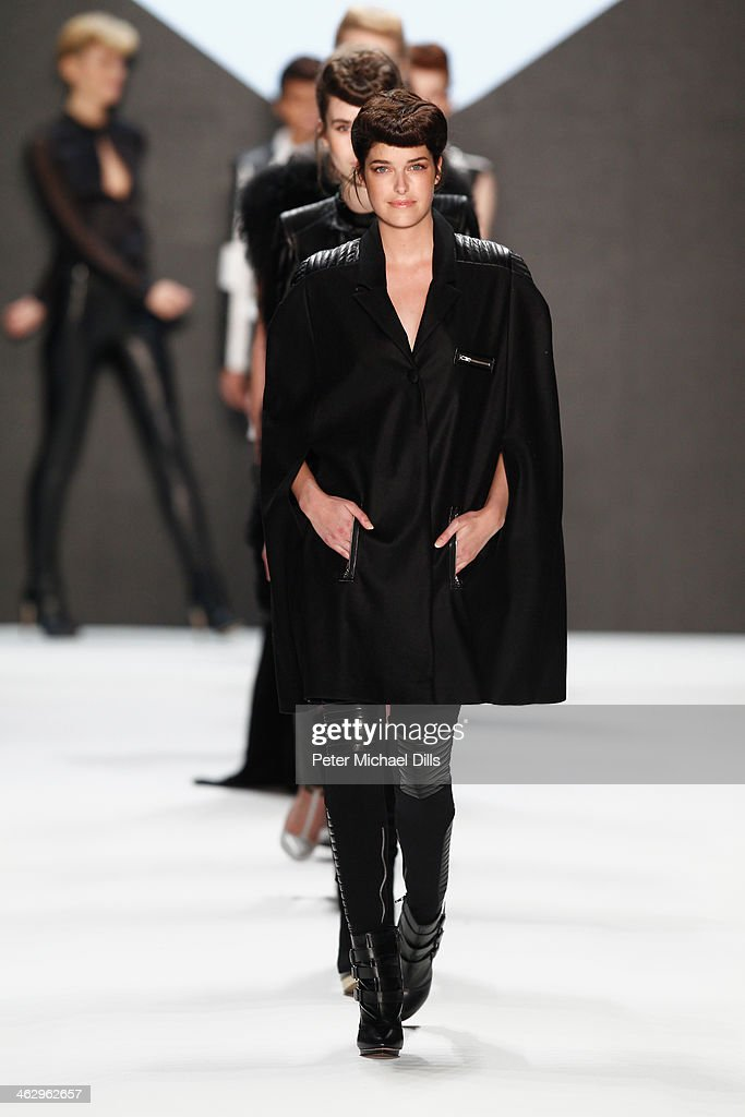 Model <a gi-track='captionPersonalityLinkClicked' href=/galleries/search?phrase=Marie+Nasemann&family=editorial&specificpeople=5841756 ng-click='$event.stopPropagation()'>Marie Nasemann</a> walks the runway at the Glaw show during Mercedes-Benz Fashion Week Autumn/Winter 2014/15 at Brandenburg Gate on January 16, 2014 in Berlin, Germany.