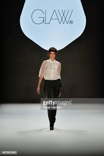 Model Marie Nasemann walks the runway at the Glaw show during MercedesBenz Fashion Week Autumn/Winter 2014/15 at Brandenburg Gate on January 16 2014...