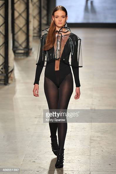Model Marie walks the runway during the Elite Model Look 2014 France series at Palais de Tokyo on October 2 2014 in Paris France