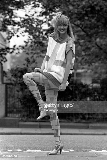 Model Maril Warne wearing 'graphique' tights a striking multicolour printed Mondrianinspired pattern She was showing off the Pretty Polly Spring 1986...