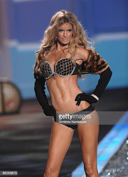 Model Marisa Miller walks the runway during the 2009 Victoria's Secret fashion show at The Armory on November 19 2009 in New York City