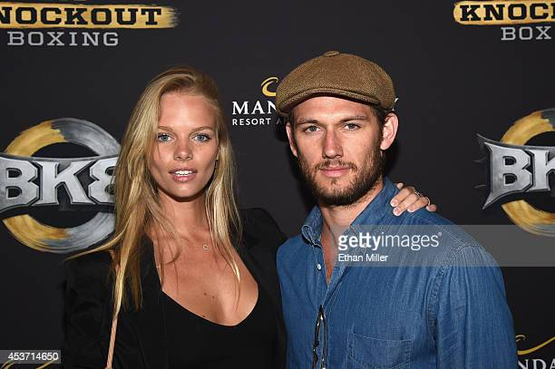 Model Marloes Horst and actor Alex Pettyfer attend the inaugural event for BKB Big Knockout Boxing at the Mandalay Bay Events Center on August 16...