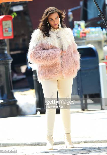 Model Marquita Pring is seen on photoshoot in Soho on July 21 2017 in New York City