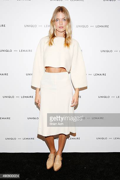 Model Martha Hunt attends the UNIQLO and LEMAIRE preshopping event at UNIQLO on October 1 2015 in New York City