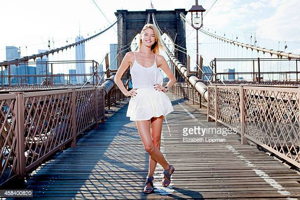 Model Martha Hunt is photographed for Sunday Telegraph Australia on the Brooklyn Bridge on June 26 2014 in Brooklyn New York