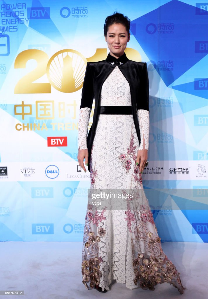 Model Mary Ma arrives at the red carpet of the 2012 China Trends Awards at BTV Grand Theater on December 22, 2012 in Beijing, China.
