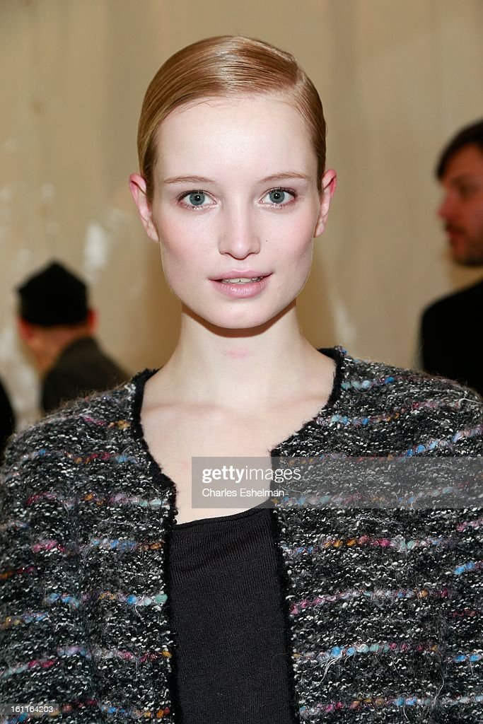 Model Maud Welzen poses backstage at the Lacoste Fall 2013 Mercedes-Benz Fashion Show at The Theater at Lincoln Center on February 9, 2013 in New York City.