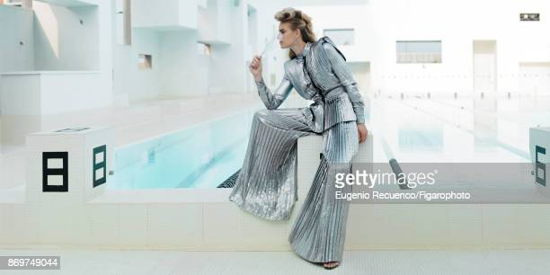 Model poses at a fashion shoot for Madame Figaro on July 19 2017 in Le Havre France Shirt and pants earrings sandals PUBLISHED IMAGE MANDATORY...