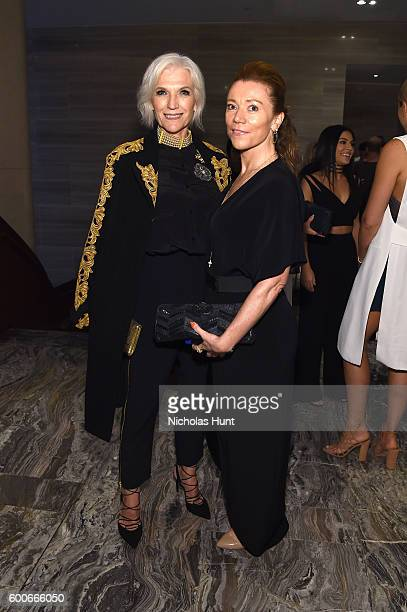 Model Maye Musk and a guest attend the The Daily Front Row's 4th Annual Fashion Media Awards at Park Hyatt New York on September 8 2016 in New York...