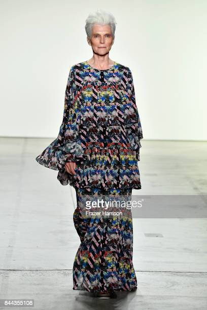 Model Maye Musk walks the runway at the Project Runway fashion show during New York Fashion Week The Shows at Gallery 1 Skylight Clarkson Sq on...
