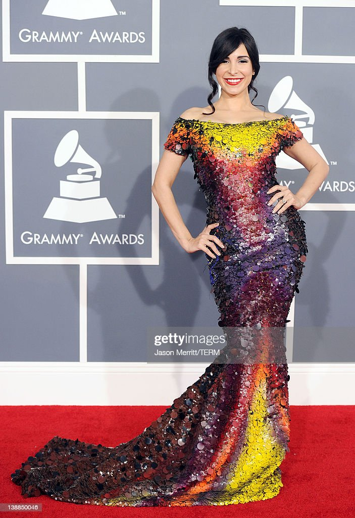 Model Mayra Veronica arrives at the 54th Annual GRAMMY Awards held at Staples Center on February 12, 2012 in Los Angeles, California.