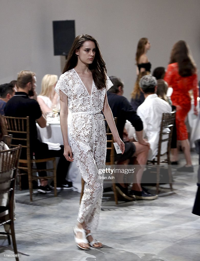 A model meanders during the rachel comey fashion show during mercedes benz fashion week spring