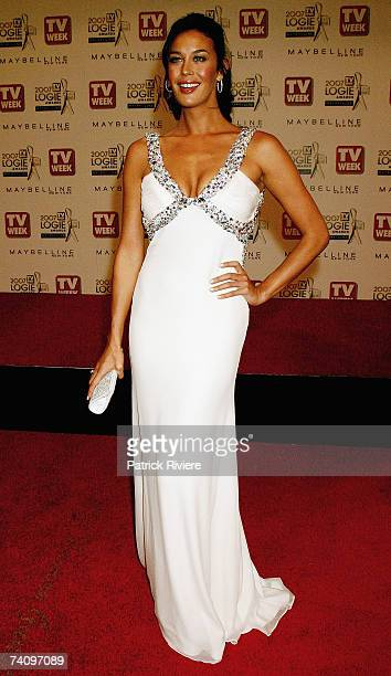 Model Megan Gale arrives at the 2007 TV Week Logie Awards at the Crown Casino on May 6 2007 in Melbourne Australia The annual television awards sees...