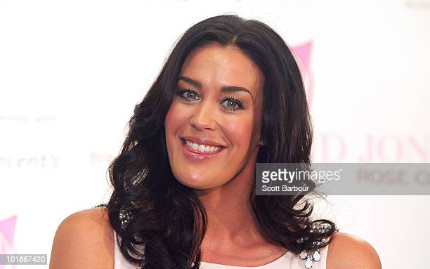 Model Megan Gale looks on during the announcement of a new women's health initiative at David Jones Bourke Street Mall on June 8 2010 in Melbourne...