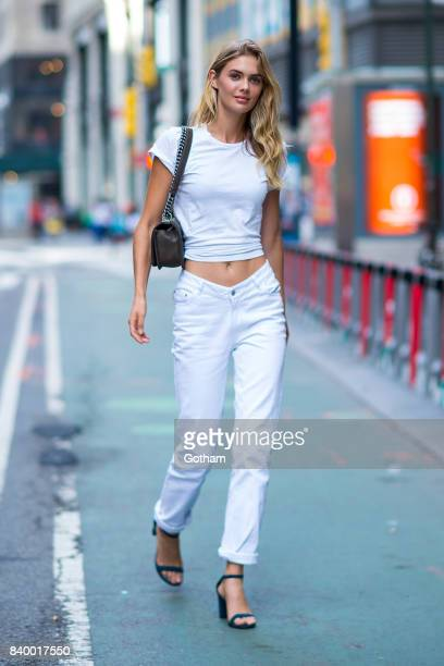 Model Megan Williams is seen going to fittings for the 2017 Victoria's Secret Fashion Show in Midtown on August 27 2017 in New York City