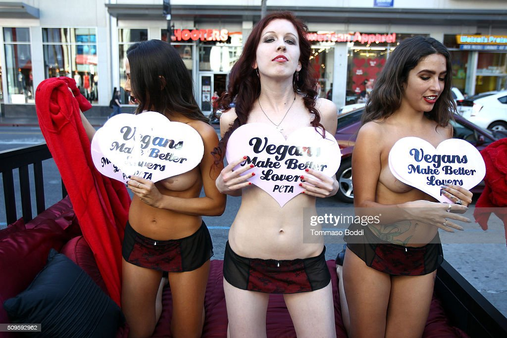 PETA hosts 'Vegans Make Better Lovers' Valentine's Day demonstration in Hollywood at TCL Chinese Theatre IMAX on February 11, 2016 in Hollywood, California.