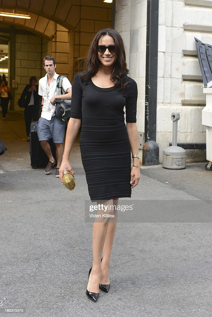 Model Meghan Markle arrives at the Marchesa runway show during Mercedes-Benz Fashion Week Spring 2014 at The New York Public Library on September 11, 2013 in New York City.