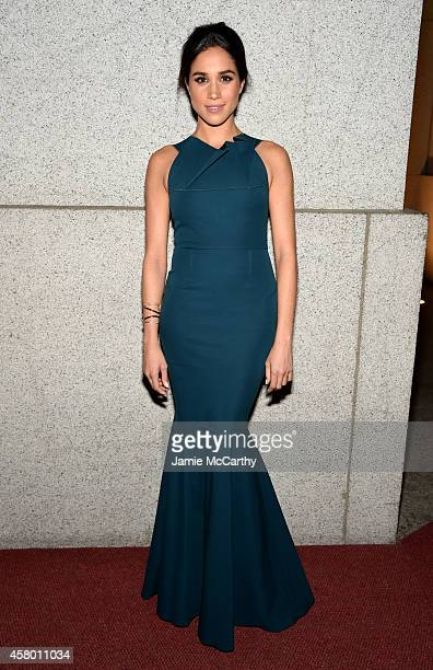 Model Meghan Markle attends the Elton John AIDS Foundation's 13th Annual An Enduring Vision Benefit at Cipriani Wall Street on October 28 2014 in New...