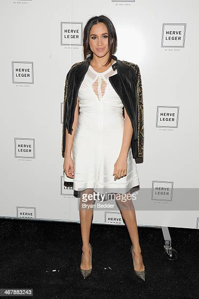 Model Meghan Markle poses backstage at the Herve Leger By Max Azria fashion show during MercedesBenz Fashion Week Fall 2014 at The Theatre at Lincoln...