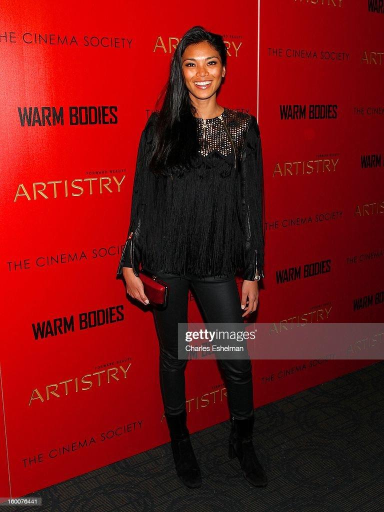 Model Meki Saldana attends the Cinema Society and Artistry screening of 'Warm Bodies' at Landmark Sunshine Cinema on January 25, 2013 in New York City.