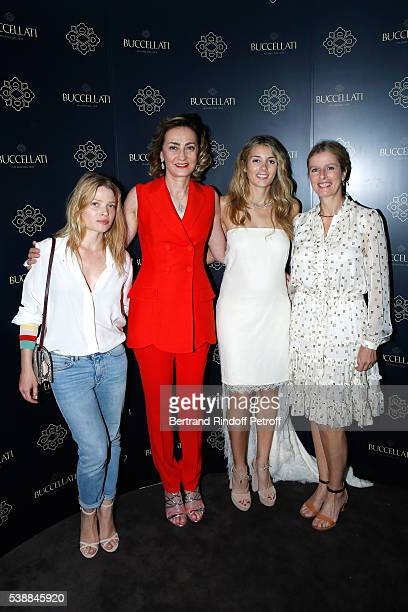 Model Melanie Thierry Maria Cristina Buccellati Lucrezia Buccellati and actress Karine Viard attend the Opening of the Boutique Buccellati situated 1...