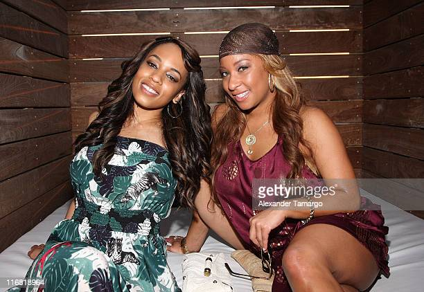 Model Melyssa Ford and Hazel Eyez CEO Arica Adams pose during the Hazel Eyez Experience at The Catalina Hotel on May 4 2008 in Miami Beach Florida